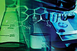 A flask filtered on molecule design and other lab equipment for PK-PD calculations