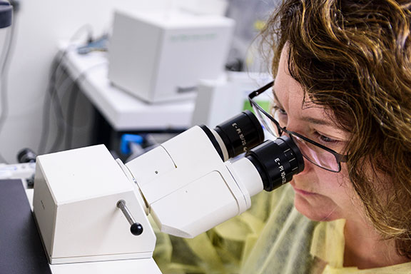 2017 FDLE - New Drug Therapies | Woman looking through microscope